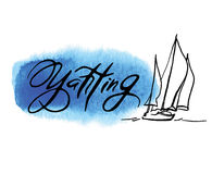Bosquejo hecho a mano de navegar y del mar Fotos de archivo libres de regalías