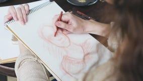 Bosquejo humano del dibujo de la mujer almacen de video