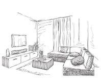 Bosquejo interior moderno del sitio Muebles dibujados mano Foto de archivo libre de regalías