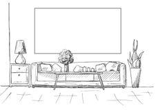 Bosquejo linear de un interior Capítulo en la pared para caber su información Dé el ejemplo exhausto del vector de un estilo del  stock de ilustración