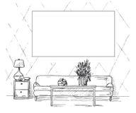 Bosquejo linear de un interior Sofá, tabla, mesita de noche, lámpara, flor Capítulo en la pared para caber su información Mano dr ilustración del vector