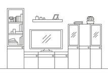 Bosquejo linear del interior Estante para libros, aparador con la TV y estantes Bosquejo linear del interior en un estilo moderno Fotos de archivo libres de regalías
