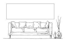 Bosquejo linear del interior Parte del cuarto Capítulo en la pared para caber su información Ejemplo dibujado mano del vector de ilustración del vector