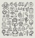 Bosquejo médico de los iconos Fotografía de archivo libre de regalías