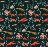 Bosquejo Marine Animals Seamless Pattern colorida Imagen de archivo libre de regalías