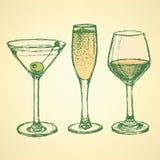 Bosquejo martini, champán y copa de vino Foto de archivo libre de regalías