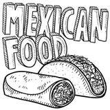 Bosquejo mexicano de la comida Imagenes de archivo
