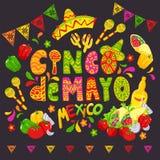 Bosquejo mexicano de la comida, Cinco de Mayo Celebration Banner, ejemplo festivo o aviador Fotos de archivo
