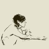 Bosquejo. Muchacha que se sienta Imagenes de archivo