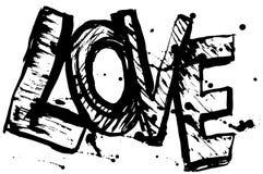 Bosquejo negro de las letras de amor Cartel de la vendimia Foto de archivo libre de regalías