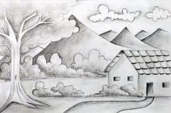 Bosquejo original del lápiz de un paisaje Imagen de archivo libre de regalías