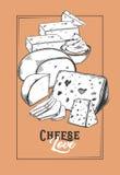 Bosquejo para la bandera del queso Insignia vegetariana de la comida libre illustration