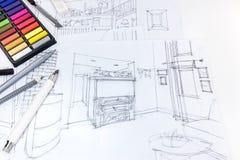Bosquejo a pulso de las herramientas del interior y de dibujo de la sala de estar en el DES Imagen de archivo libre de regalías