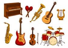 Bosquejo retro de instrumentos musicales clásicos Imagenes de archivo