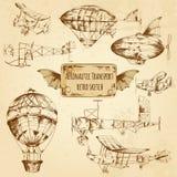Bosquejo retro de la aviación Imagen de archivo libre de regalías