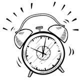 Bosquejo retro del reloj de alarma stock de ilustración