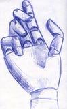 Bosquejo robótico del lápiz de la mano Imagen de archivo libre de regalías