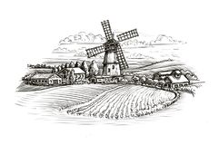 Bosquejo rural del paisaje Granja, molino de viento y campo Ilustración de la vendimia stock de ilustración