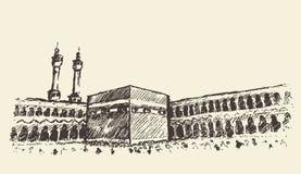 Bosquejo santo de los musulmanes de Kaaba Mecca Saudi Arabia Fotos de archivo libres de regalías