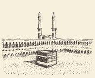 Bosquejo santo de los musulmanes de Kaaba Mecca Saudi Arabia Imágenes de archivo libres de regalías