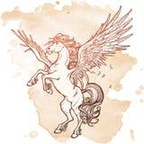 Bosquejo sobrenatural de la bestia de Pegaso en un fondo del grunge ilustración del vector