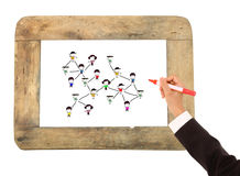 Bosquejo social de la gente de la red en un Whiteboard Fotografía de archivo