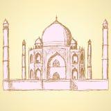 Bosquejo Taj Mahal, fondo del vintage Fotografía de archivo libre de regalías