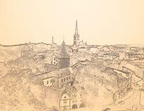 Bosquejo Tallinn vieja, sepia del lápiz Fotos de archivo libres de regalías
