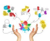 Bosquejos coloreados control del negocio de las manos de la mujer Imágenes de archivo libres de regalías