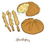 Bosquejos coloreados de un pan más húmedo libre illustration