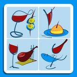 Bosquejos coloridos del garabato del vino español Imágenes de archivo libres de regalías