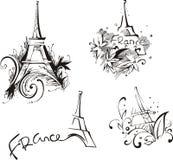 Bosquejos con la torre Eiffel Imagenes de archivo