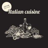 Bosquejos de la cocina italiana Fotos de archivo libres de regalías