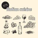 Bosquejos de la cocina italiana Imagen de archivo libre de regalías