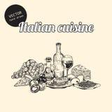 Bosquejos de la cocina italiana Imágenes de archivo libres de regalías