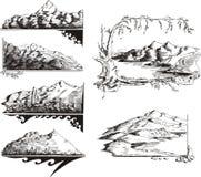 Bosquejos de la montaña Imagen de archivo libre de regalías