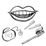 Bosquejos de la sonrisa, del cepillo de dientes y de la seda Imagen de archivo libre de regalías