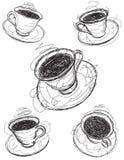Bosquejos de la taza de café Fotos de archivo libres de regalías