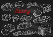 Bosquejos de la tiza de los productos de la panadería en la pizarra stock de ilustración