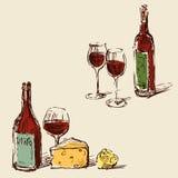 Bosquejos de las botellas de vino con las copas de vino libre illustration