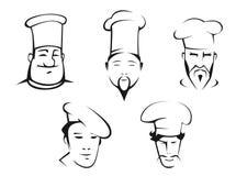 Bosquejos de las cabezas de los cocineros ilustración del vector
