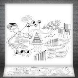 Bosquejos de las cartas y de los gráficos de negocio Foto de archivo libre de regalías