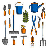 Bosquejos de las herramientas de la mano para cultivar y cultivar un huerto Foto de archivo