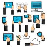 Bosquejos de las manos con los dispositivos digitales Imagen de archivo libre de regalías