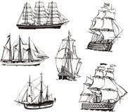 Bosquejos de los barcos de navegación libre illustration