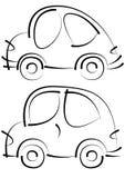 Bosquejos de los coches aislados en blanco Fotos de archivo