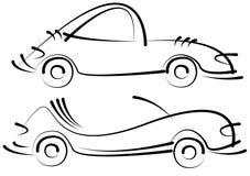 Bosquejos de los coches aislados en blanco Imagen de archivo libre de regalías