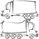Bosquejos de los coches aislados en el fondo blanco Imágenes de archivo libres de regalías