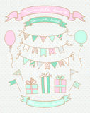 Bosquejos de los elementos de la fiesta de cumpleaños Imagen de archivo