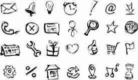 Bosquejos de los iconos del web fijados Fotografía de archivo libre de regalías